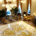 The Plaza Hotel, New York. Artistic floor made of a variety of stones.