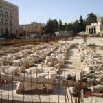 ממילא, ירושלים. כמויות אבן שפורקו לקראת אחסון והרכבה מחדש.